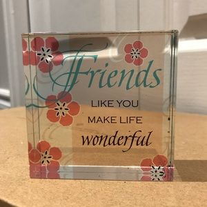 Beautiful Solid Glass Friendship Plaque
